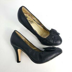 Seychelles Black Bow Heels Pumps Bergman Retro Mod